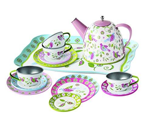 Unbekannt Tolles Tee-Set aus Metall im praktischen Koffer / Motiv: Vogel / Material: Metall / Maße des Koffers: 29,5 x 20 x 9,5 cm / ab 3 Jahren
