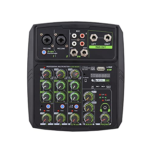 Mengpaneel 4-kanaals audiomixer mengconsole led-scherm ingebouwde geluidskaart USB-BT-verbinding met 2-bands EQ Gain…