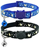 Giecooh 2 Pack Breakaway Cat Collar with Bells,Adjustable Moon and Star Kitten Safety Collars Glow in The Dark,Black+Blue