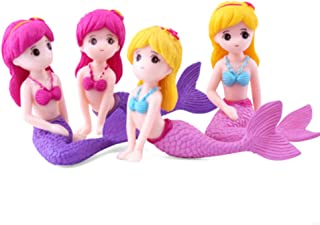 Mermaid Miniature Figurines, 4 Pcs Mermaid Figure Collection Playset, Cake Toppers Decoration, Plant Pot Micro Land Decor
