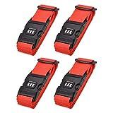 sourcing map Equipaje Correas Maleta Cinturones con Hebilla, Combinación Cerradura, 2Mx5cm Ajustable PP Viaje Embalaje Accesorios, Rojo 4uds