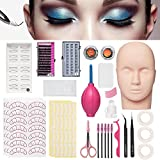 Mannequin Training Head False Eyelashes Extension Practice Set Make Up Eye Lashes Train Model Graft Kits for Professionals & Beginners