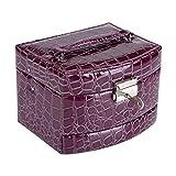 Caja de Joyería de 3 Capas con Espejo y Mango Caja Joyero para Collar Anillos Collar Broches Pulsera[Púrpura]