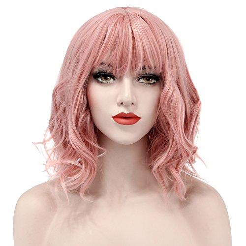 Discoball court perruque frisée charmante dame bob avec des franges vague avec perruque pac pour femmes cosplay partie utilisation quotidienne (rose)