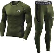 Men's Base Layer Underwear Set, Cool Gear Quick Dry Long Sleeve Compression Shirt and Pants, Sport Fitness Long Johns