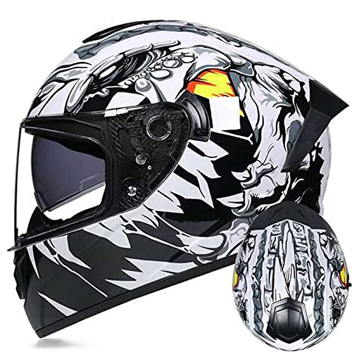 Casco Moto Integrale Per Uomo E Donna Omologato ECE DOT Casco Moto Da Corsa Per Moto Da Strada Con Doppia Visiera Parasole Leggero Caschi Integrali Moto Con Grafiche White 1,M