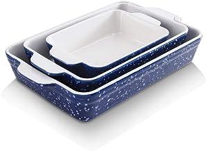 KOOV Bakeware Set, Ceramic Baking Dish, Rectangular Baking Pans for Cooking, Cake Dinner, Kitchen, 9 x 13 inch, Snowflake ...