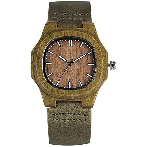 Reloj Casual de Madera, Reloj de Pulsera Clásico de Madera con Diseño de Sandalia Verde para Hombre, Reloj de Pulsera de Madera de Cuarzo Generoso para Hombre