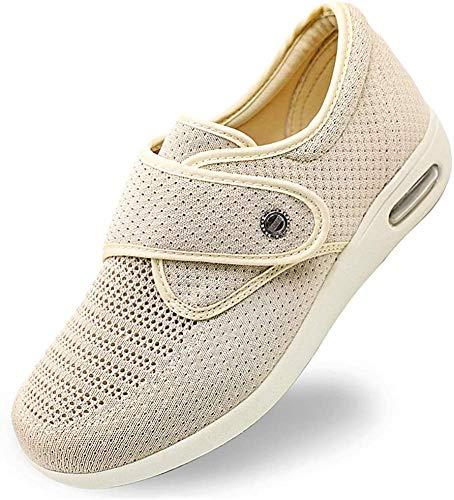 PXQ Zapatos para diabéticos para Mujer Sandalias de Ancho Extra Ancho Zapatillas de Edema para Artritis Ajustables para Edema de Edad Avanzada, pies hinchados, Regalos para diabéticos,Beige,41