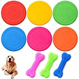 Dog Frisbee,Guador 6 Piezas Silicona Perro De Juguete Frisbee Training Perros Juguetes Interactivos Pequeños con 3 Piezas Cepillos Dientes Perros Limpieza de Dientes Molar Stick