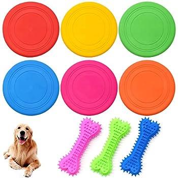 Frisbees pour Chien,Guador 6 Pièces Disque Volant pour Chien Jouet de Disque Silicone Petit Résistant Jouets D'entraînement avec 3 Pièces Dog Brushing Stick pour Chiens Dents Jouet Molar Bâton