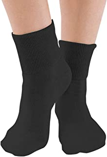 6 Pair Women's Black Buster Brown Elastic-Free Cotton Socks - Sock Size 11 - Fits Shoe Sizes 9.5-10.5