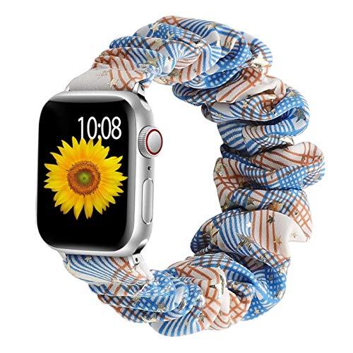 Correa Scrunchie para Apple Watch Band 44 mm 40 mm 42 mm 38 mm Pulsera de nailon elástico Solo Loop para iwatch serie 5 4 3 SE 6 banda-oro rómbico, 38 mm o 40 mm L
