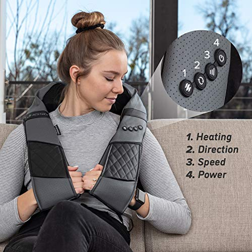 Massagers for Neck and Back with Heat - Deep Tissue 3D Kneading Pillow, Electric Shiatsu Back Neck and Shoulder Massage, Shoulders, Foot, Legs,Body - Relieve Muscle Pain - Office, Home & Car