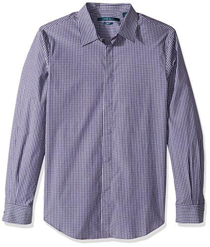Perry Ellis Men's Long Sleeve Horizontal Multi-Color Stripe Shirt, Blueprint, Large