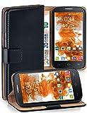 MoEx Funda Cartera [protección 360°] Compatible con Alcatel One Touch Pop C7 | Cierre magnético, Noir