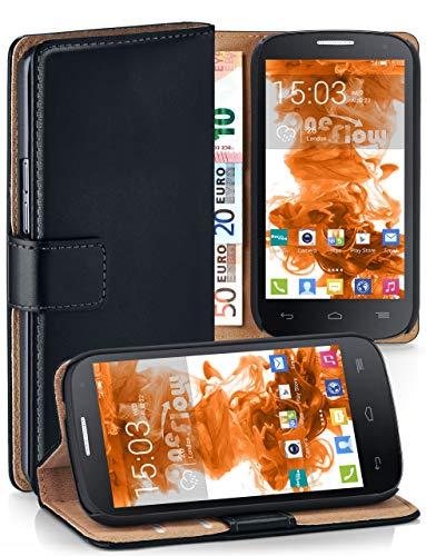 moex Premium Handytasche kompatibel mit Alcatel One Touch Pop C7 - Klapphülle mit Kartenfach und Ständer, magnetische Handy Tasche - Flip Case Schutzhülle, Schwarz