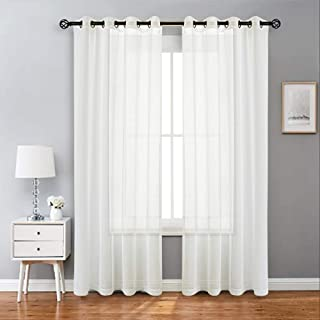 Randall Silver Gray Check Sheer Curtains GEO Square Window Treatment Set for Living Room Bedroom, Rod Pocket 54