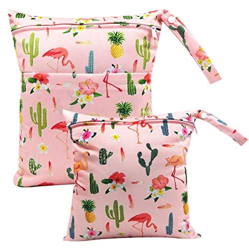 ViVidLife Windeltasche, 2 Stück Wetbag Organiser Beutel Nasstaschen Wickeltasche Stoffwindeln Taschen mit Wiederverwendbarem Stoff Reißverschluss (Kaktus)