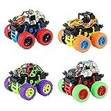 Sirecal Monster Truck - Juego de 4 juguetes para coche, inercia offroad, camión monstruo, 360°, vehículos con movimiento de fricción con muelle resistente a los golpes, regalo para niños