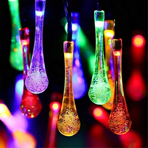 Cadena de luz solar YCDZ con gotas de agua, jardín impermeable, valla para jardín, terraza, terraza, cerca, Navidad, fiesta, 6,5 m 30 luces, verde;