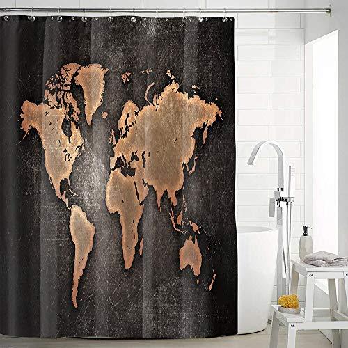 QWESD wasserdichte Weltkarte Duschvorhang für Badezimmer Badvorhänge Extra Lange 3D Blackout Duschvorhang Anti-Rutsch- Badteppich Teppich WC Deckelabdeckung 200 * 210cm