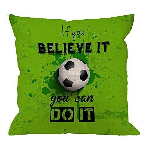 N\A Funda de cojín de fútbol con Citas, si lo Crees, Puedes Hacerlo, Fundas de Almohada Decorativas para el hogar de fútbol, Fundas de cojín cuadradas de Lino de algodón para sofá, sofá