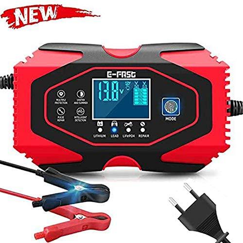 Dweyka Autobatterie Ladegerät 12/24V Batterieladegerät Auto Vollautomatisches Ladegerät mit LCD-Bildschirm, Batterieladegerät für Auto und Motorrad - Rot