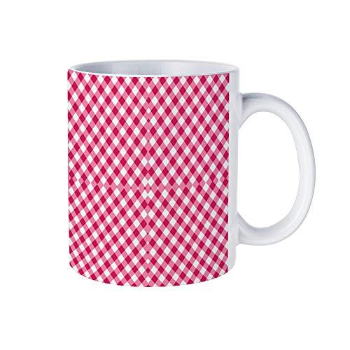 Weiße Kaffeetasse, Granat-Schottenkaro, Keramik, Schokoladenbecher für Frauen, Chef, Freund, Mitarbeiter oder Ehepartner