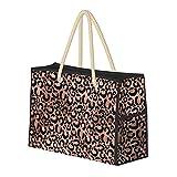 Bolsa de playa grande y bolsa de viaje para mujer – Bolsa de piscina con asas, bolsa de semana y bolsa de noche – Decoupage con estampado de leopardo rosa y negro