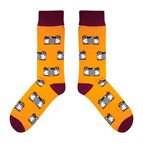 CUP OF SOX - Foto/Kamera/Hipster - Socken in der Tasse - Herren und Damen Geschenksocken Freizeit Socken, Orange, 41-44