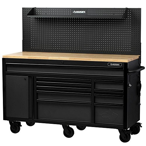 Husky 61 in. W 23 in. D 10-Drawer 1-Door Mobile Workbench with Solid Wood Top and Flip-Up Pegboard in Textured Black