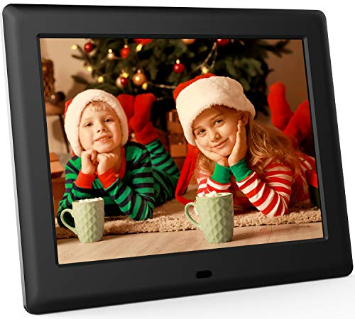 DBPOWER 8 Inch Digital Photo Frame, 1024x768 Resolution IPS Screen Display Picture Frame with Remote Control, Calendar, Time, Music, Video, Slideshow, Supports 32GB USB Drive/SD Card
