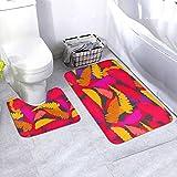 N/B Colorful Leaves Background Illustration Bad antideslizante Alfombrilla de baño Alfombrilla antideslizante almohadilla para decoración interior Set 2 unidades adaptado