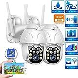 WiFi PTZ Camera 1080p Outdoor Wireless Home Surveillance Camera Dome SD Card P2P Cloud CCTV Video Surveillance Camera Yoosee (1080P-12V 2A-64GB)