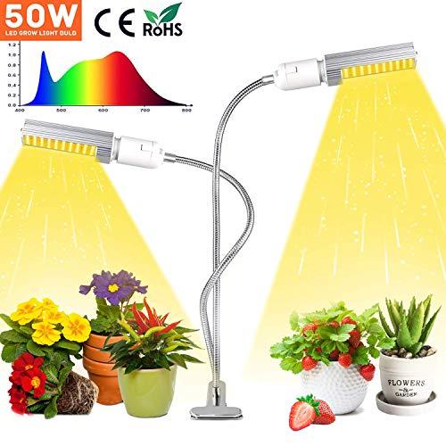 KINGBO 50W Led wachsen Glühbirne für Zimmerpflanzen Superhelle 100 LEDs Sunlike Full Spectrum wachsen Lampe Weiß, Doppelkopf-Schwanenhals-Schreibtisch-Pflanzenlicht mit 2-Switch, austauschbare Lampe
