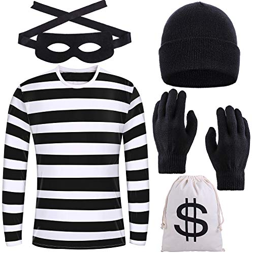 URATOT Halloween Robber Costume Set, Include Striped Long Sleeve T-shirt Knit Cap Gloves Canvas Bags and Eye Mask…