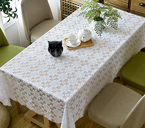 Kuingbhn Quality Rectangular Fabric Tablecloth Simple Home for Kitchen Dinning Tabletop Decoration White 120×120cm