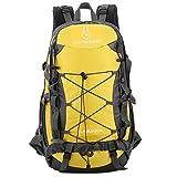 TOMSHOO - Zaino impermeabile da 40 l, per attività all'aria aperta, campeggio, arrampicata, ciclismo, viaggi, zaino da viaggio, borsa per uomini e donne, giallo.