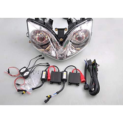 Wotefusi Jeu d'optique Phare Avant Projecteur Bi-Xenon pour Honda CBR600 F4i 2001 2002 2003 2004 2005 2006 2007 Angel Eye Jaune Devil Eye Rouge