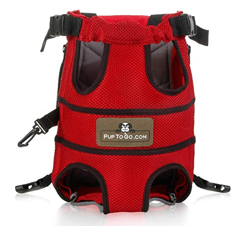 Pup To Go Pet Carrier Backpack, Adjustable Front Dog Carrier Travel Bag, Legs Out, Easy-Fit for Traveling Hiking and Camping (Large)