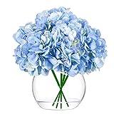 SEEKVER Cabezas de hortensias Artificiales, Flores de imitación de Seda Azul con Tallos Desmontables para la decoración del hogar del Ramo de la Boda (Paquete de 10)