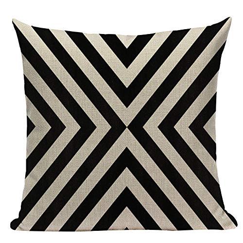 Almohada de Almohada de Estilo Simple Almohadas Decorativas geométricas para sofá Casas Casas Black White Woven Woven Funda de Almohada-R_6pc