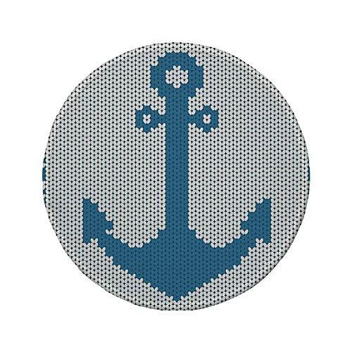 """Rutschfreies Gummi-Rundmaus-Pad Anker gestrickter Handarbeitsstich Digitaler Anker Design Sicherheit im Meer Icon-Druck blaugrün weiß 7.9\""""x7.9\""""x3MM"""