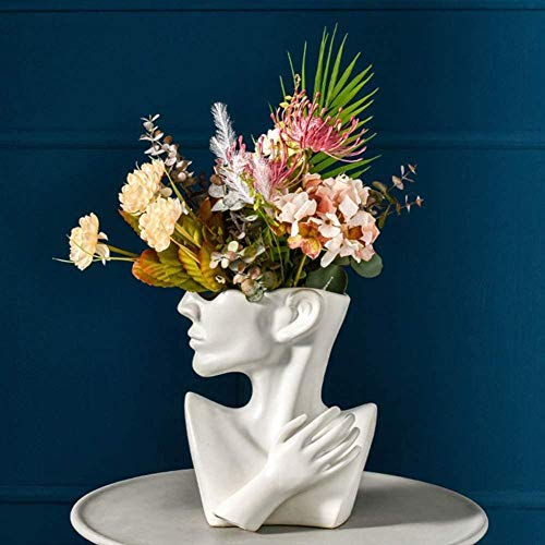 Indoor Outdoor Statue Planter Ceramic Bust Head Statue Planters Pots Home Garden Decor Sculpture Flower Vase Bonsai Art A-I Uptodate