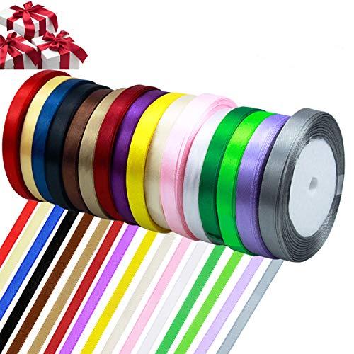 Satinband, Netspower 16 Rollen 22mm Schleifenband Seidenband Geschenkband Dekoband DIY Hochzeit,Weihnachten Geburtstagsgeschenke Dekoration