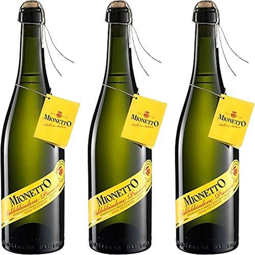 Prosecco Valdobbiadene DOCG Frizzante | Mionetto Spago Legature | Legatura Manuale a Spago | 3 Bottiglie 75Cl | Bollicine Italiane | Idea Regalo