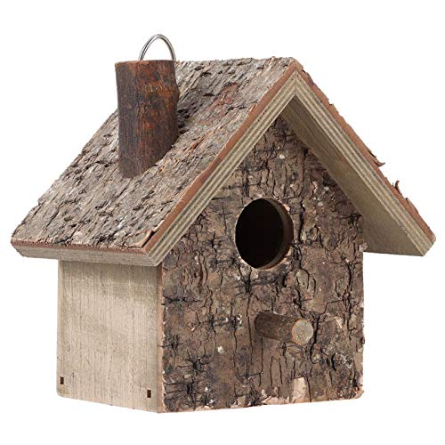HERCHR Casa para pájaros Colgante, pajarera de Madera para jardín Exterior, Patio, Caja Nido Decorativa, Casas para pájaros para pájaros pequeños, 15 x 10 x 9 cm