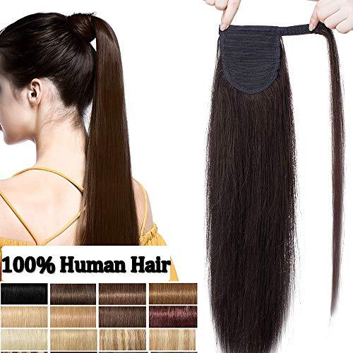 Rich Choices Extension Capelli Veri Coda 100% Remy Human Hair Clip Ponytail Extension Capelli Lisci Brasiliani Allungamento (35cm 80g #4 Marrone Cioccolato)