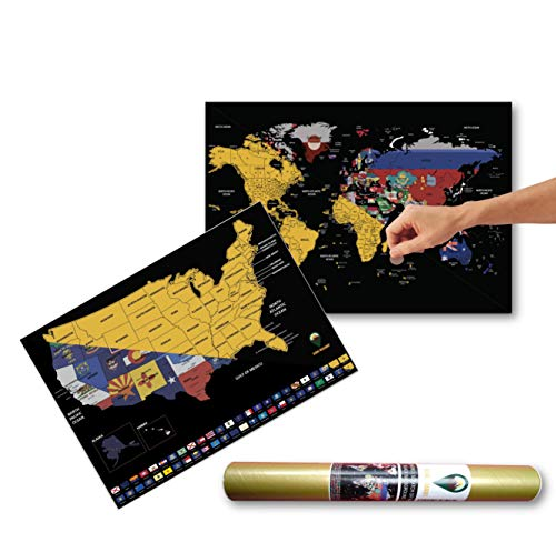 Global Walkabout Scratch Off World and USA Maps with Flags background - Deluxe Travel Size World and USA Map Poster - Twin pack States and Facts - Travel Gift (Black)